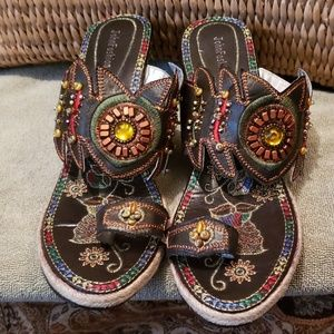 John fashion beaded/threaded sandals